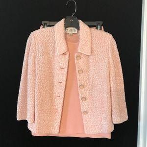 St. John Collection 3-Piece Knit Pink Set Boucle 2
